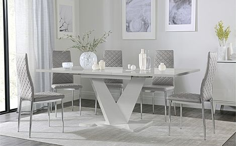 Turin Grey High Gloss Extending Dining Table with 6 Renzo Light Grey Leather Chairs