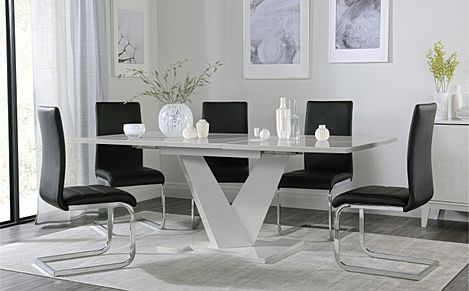 Turin Grey High Gloss Extending Dining Table with 6 Perth Black Leather Chairs