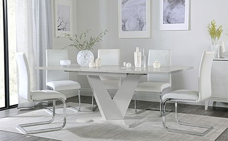 Turin Grey High Gloss Extending Dining Table with 6 Perth White Leather Chairs