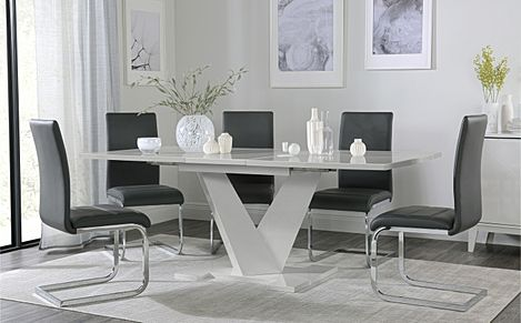Turin Grey High Gloss Extending Dining Table with 6 Perth Grey Leather Chairs