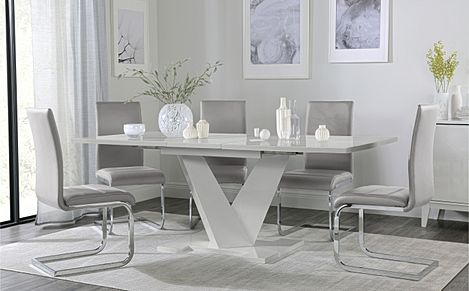 Turin Grey High Gloss Extending Dining Table with 8 Perth Light Grey Leather Chairs