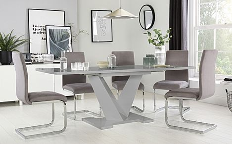 Turin Grey High Gloss Extending Dining Table with 6 Perth Grey Velvet Chairs