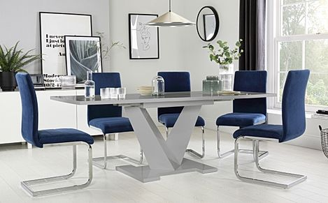 Turin Grey High Gloss Extending Dining Table with 6 Perth Blue Velvet Chairs