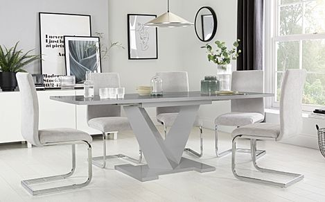 Turin Grey High Gloss Extending Dining Table with 8 Perth Dove Grey Fabric Chairs