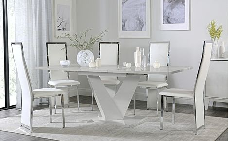 Turin Grey High Gloss Extending Dining Table with 6 Celeste White Leather Chairs