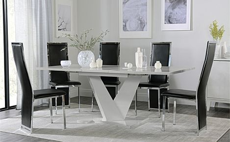 Turin Grey High Gloss Extending Dining Table with 6 Celeste Black Leather Chairs