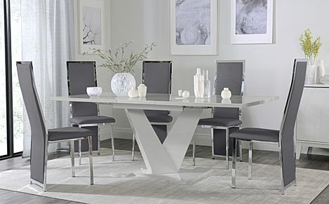 Turin Grey High Gloss Extending Dining Table with 6 Celeste Grey Leather Chairs