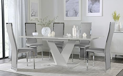 Turin Grey High Gloss Extending Dining Table with 6 Celeste Light Grey Leather Chairs