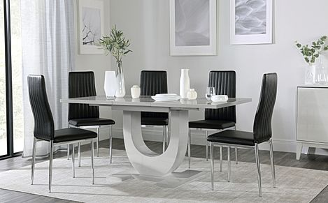 Oslo Grey High Gloss Extending Dining Table with 4 Leon Black Leather Chairs