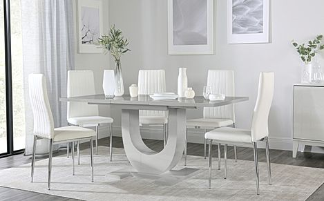 Oslo Grey High Gloss Extending Dining Table with 6 Leon White Leather Chairs