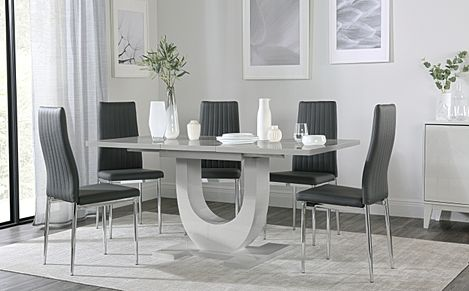 Oslo Grey High Gloss Extending Dining Table with 6 Leon Grey Leather Chairs