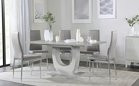 Oslo Grey High Gloss Extending Dining Table with 6 Leon Light Grey Leather Chairs
