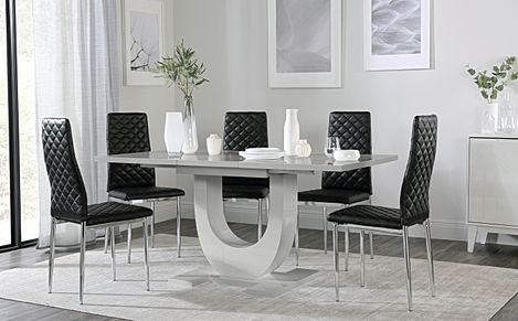 Oslo Grey High Gloss Extending Dining Table with 6 Renzo Black Leather Chairs