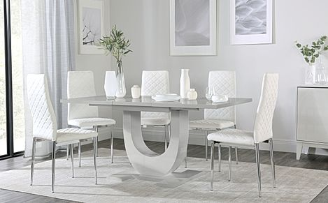 Oslo Grey High Gloss Extending Dining Table with 6 Renzo White Leather Chairs