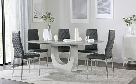 Oslo Grey High Gloss Extending Dining Table with 6 Renzo Grey Leather Chairs