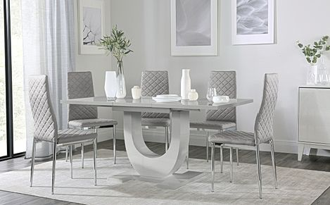 Oslo Grey High Gloss Extending Dining Table with 6 Renzo Light Grey Leather Chairs