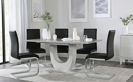 Oslo Grey High Gloss Extending Dining Table with 6 Perth Black Leather Chairs