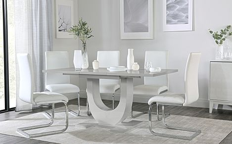 Oslo Grey High Gloss Extending Dining Table with 4 Perth White Leather Chairs