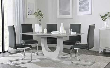 Oslo Grey High Gloss Extending Dining Table with 4 Perth Grey Leather Chairs