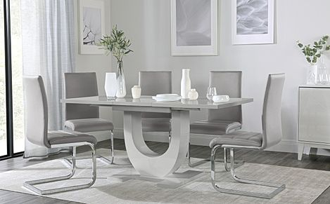 Oslo Grey High Gloss Extending Dining Table with 6 Perth Light Grey Leather Chairs