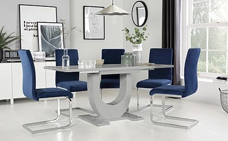 Oslo Grey High Gloss Extending Dining Table with 6 Perth Blue Velvet Chairs
