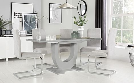Oslo Grey High Gloss Extending Dining Table with 6 Perth Dove Grey Fabric Chairs
