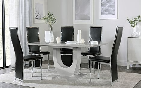 Oslo Grey High Gloss Extending Dining Table with 6 Celeste Black Leather Chairs