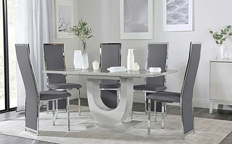 Oslo Grey High Gloss Extending Dining Table with 4 Celeste Grey Leather Chairs