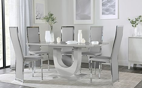 Oslo Grey High Gloss Extending Dining Table with 4 Celeste Light Grey Leather Chairs