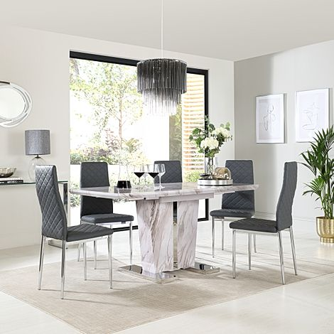 Vienna Grey Marble Extending Dining Table with 6 Renzo Grey Leather Chairs
