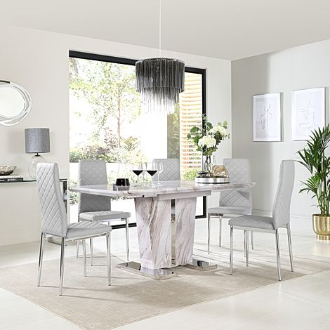 Vienna Grey Marble Extending Dining Table with 6 Renzo Light Grey Leather Chairs