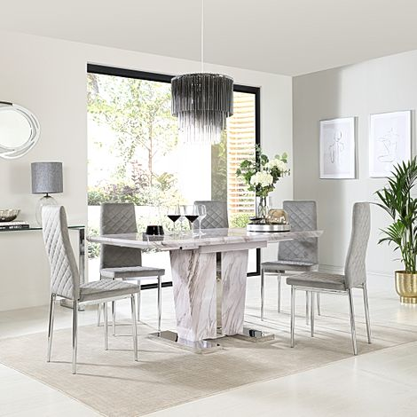 Vienna Grey Marble Extending Dining Table with 6 Renzo Grey Velvet Chairs