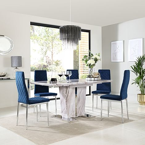 Vienna Grey Marble Extending Dining Table with 6 Renzo Blue Velvet Chairs