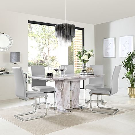 Vienna Grey Marble Extending Dining Table with 6 Perth Light Grey Leather Chairs