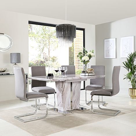 Vienna Grey Marble Extending Dining Table with 4 Perth Grey Velvet Chairs