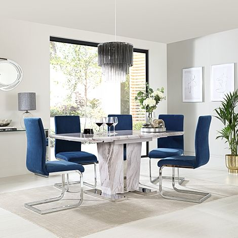 Vienna Grey Marble Extending Dining Table with 4 Perth Blue Velvet Chairs