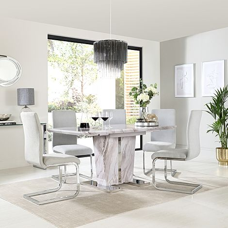 Vienna Grey Marble Extending Dining Table with 4 Perth Dove Grey Fabric Chairs