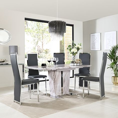 Vienna Grey Marble Extending Dining Table with 4 Celeste Grey Leather Chairs