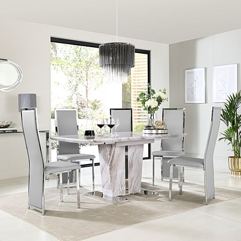 Vienna Grey Marble Extending Dining Table with 6 Celeste Light Grey Leather Chairs
