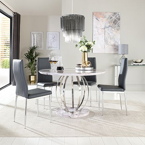 Savoy Round Grey Marble and Chrome Dining Table with 4 Leon Grey Leather Chairs
