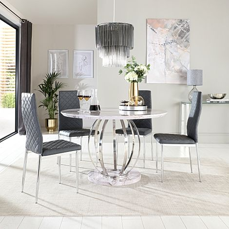Savoy Round Grey Marble and Chrome Dining Table with 4 Renzo Grey Leather Chairs