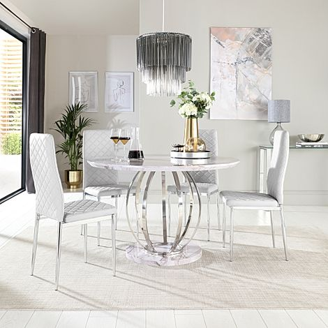Savoy Round Grey Marble and Chrome Dining Table with 4 Renzo Light Grey Leather Chairs