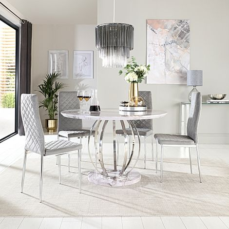 Savoy Round Grey Marble and Chrome Dining Table with 4 Renzo Grey Velvet Chairs