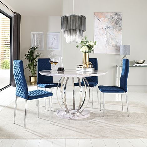 Savoy Round Grey Marble and Chrome Dining Table with 4 Renzo Blue Velvet Chairs