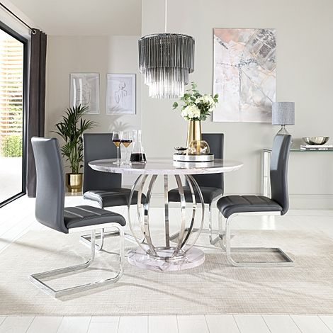 Savoy Round Grey Marble and Chrome Dining Table with 4 Perth Grey Leather Chairs