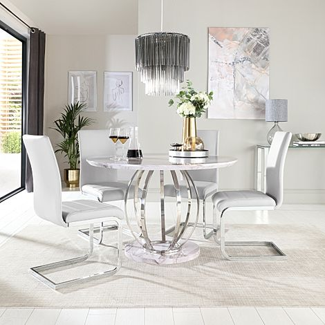 Savoy Round Grey Marble and Chrome Dining Table with 4 Perth Light Grey Leather Chairs