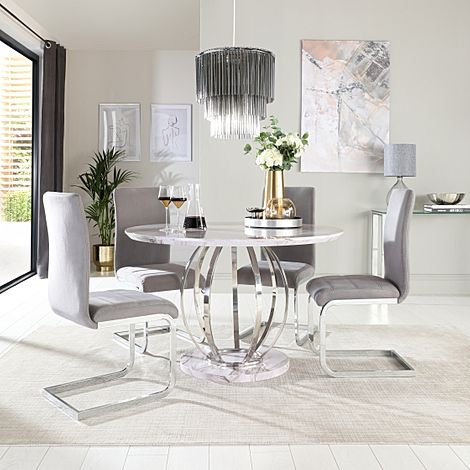 Savoy Round Grey Marble and Chrome Dining Table with 4 Perth Grey Velvet Chairs