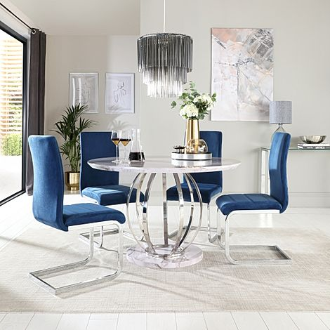 Savoy Round Grey Marble and Chrome Dining Table with 4 Perth Blue Velvet Chairs