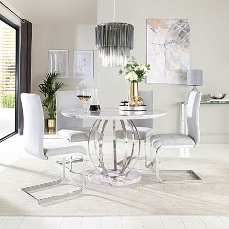 Savoy Round Grey Marble and Chrome Dining Table with 4 Perth Dove Grey Fabric Chairs