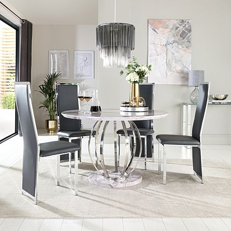 Savoy Round Grey Marble and Chrome Dining Table with 4 Celeste Grey Leather Chairs